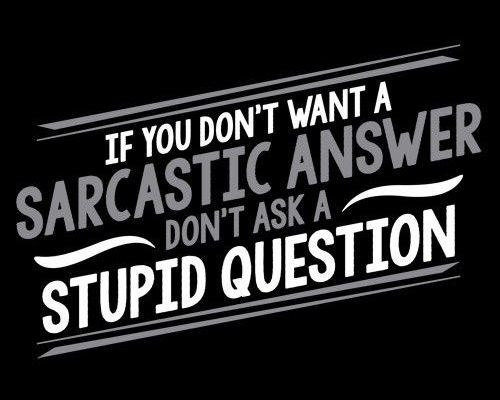 sarcastic answer stupid question
